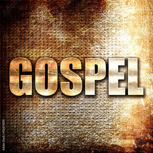 Leinwand Poster gospel, 3D rendering, metal text on rust background
