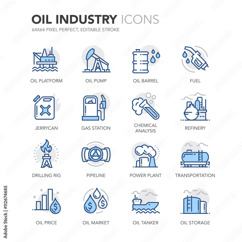 Fototapety, obrazy: Blue Line Oil Industry Icons