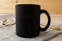 Black Coffee Mug Mockup With Glasses And Pen