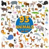 Fototapeta Fototapety na ścianę do pokoju dziecięcego - Big set of 93 cute cartoon animals of the world. Vector illustration isolated on white. Icon set.
