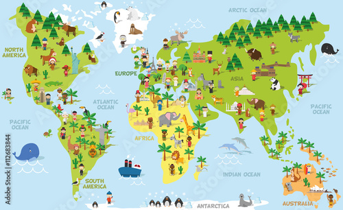 plakat Funny cartoon world map with children of different nationalities, animals and monuments of all the continents and oceans. Vector illustration for preschool education and kids design.