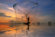 Silhouette Fisherman In Action...