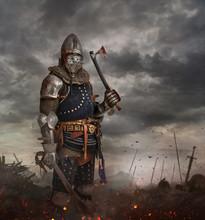 Knight With Sword In Battlefield.