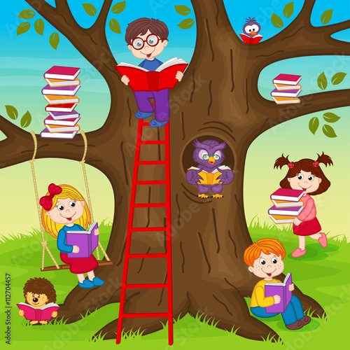 fototapeta na ścianę сhildren are reading books on a tree - vector illustration, eps