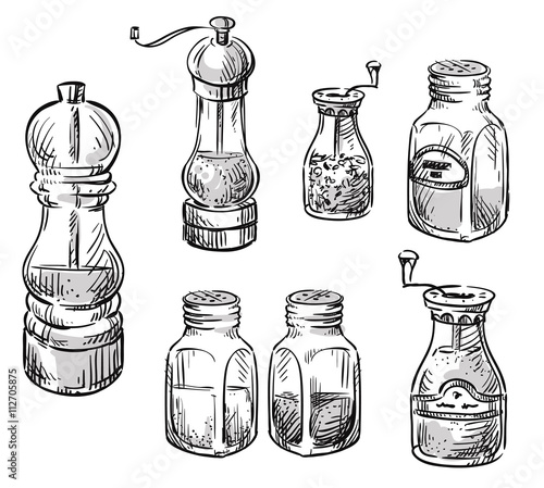 Fotografía  Salt and pepper shakers. Spice containers. Set of vector hand dr
