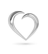 Silver Heart Icon With Clipping Path