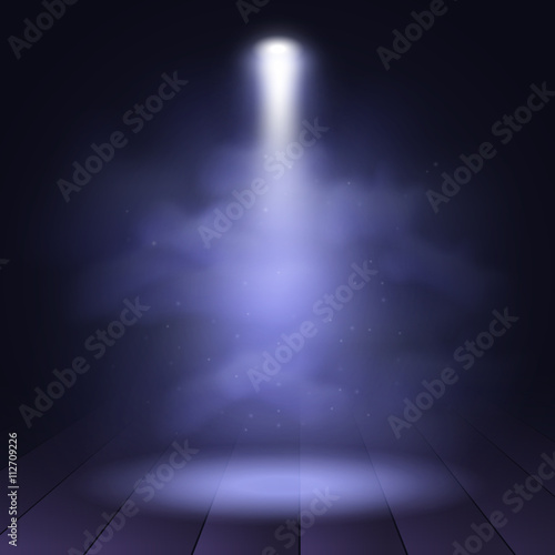 Türaufkleber Rauch Spotlight disco illuminated wooden scene decoration club theater. Vector projection presentation background illustartion.