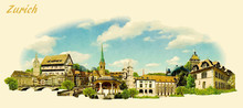 Vector Panoramic Water Color Illustration Of ZURICH City