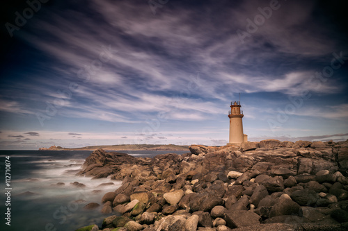Door stickers Lighthouse Long exposure landscape, lighthouse in Galicia, Spain