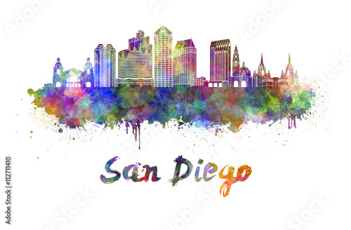 Photo  San Diego skyline in watercolor