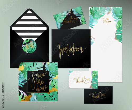 Trendy tropical jungle style vector wedding print set invitation trendy tropical jungle style vector wedding print set invitation cards menu and envelope vector stopboris Choice Image