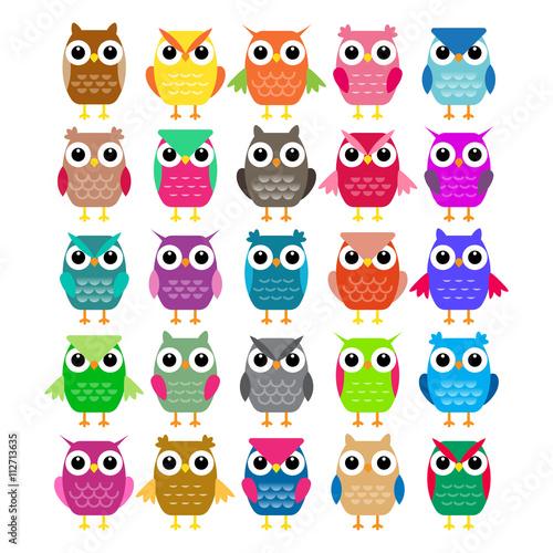 Canvas Prints Set of cartoon owls. Vector illustration