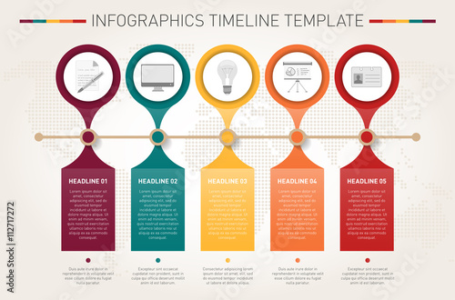Photo  Modern infographics timeline template
