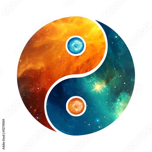 Fotografie, Obraz  Yin Yang Galaxy Style