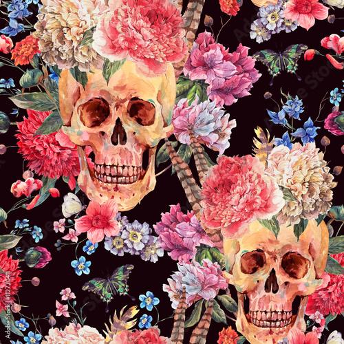Materiał do szycia Akwarela bezszwowe wzór z czaszki i różowa piwonia