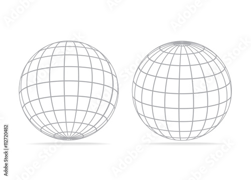 Fotografía gray vector grid earth globe icons isolated on white background