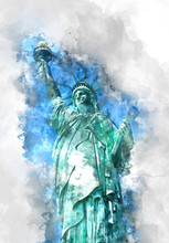 Statue Of Liberty In Blue Shad...