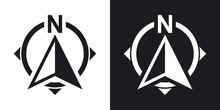 North Direction Compass Icon, ...