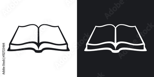 Open Book Icon Stock Vector Two Tone Version On Black And White Background