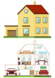 flat design vector house exterior and interior illustration