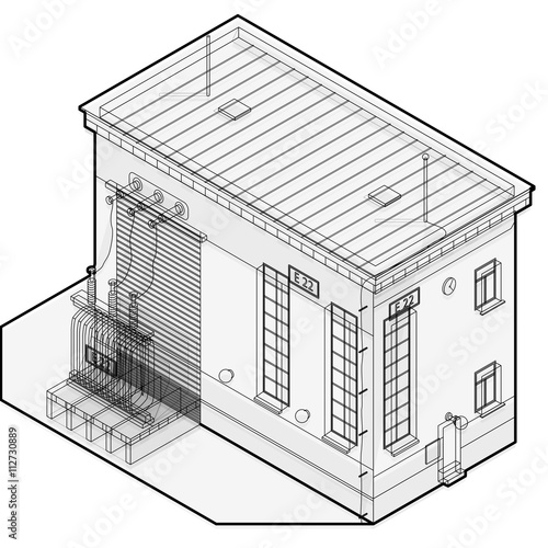 Electric Transformer Isometric Building Info Graphic Outline High