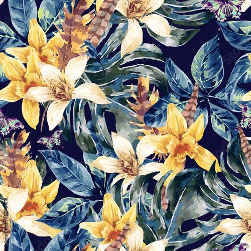 Foto op Aluminium Paradijsvogel bloem Watercolor vector seamless pattern tropical green leaves