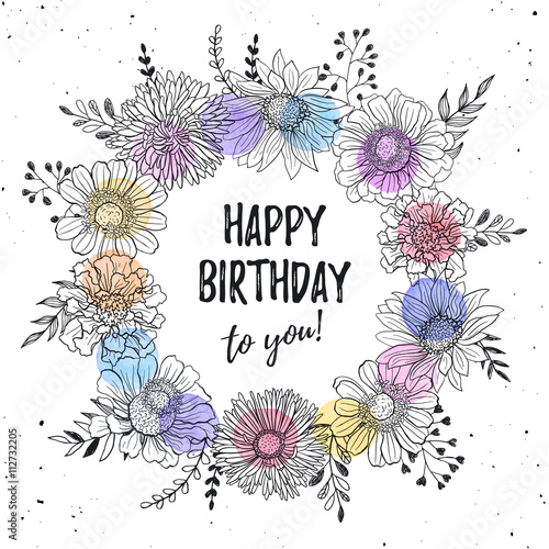 Birthday Greeting Card With Flowers Hand Drawn Black On White Background Decorative Doodle Frame From