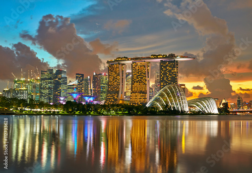 Skyline of Singapore city. Sunset background