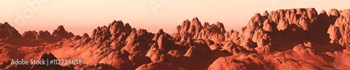 Poster de jardin Brique Martian landscape, a panorama of the red planet
