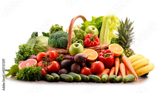 Assorted raw organic vegetables isolated on white © monticellllo