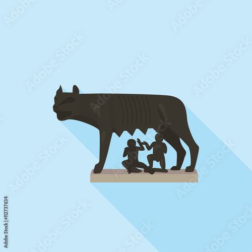 Fotografia, Obraz  The Capitoline wolf in Rome. Blue background with shadow.