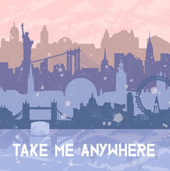 Vector background about travel and cities. Silhouettes of big cities such as New York, London, Stockholm. Grunge hand drawn look. Rose Quartz and serenity colors. Travel urban poster.