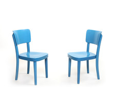 Two Classic Blue Chairs In Empty Room. Furniture On White Background. Idea Of Dialogue. Picture With Space For Your Text.