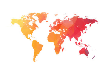 Abstract Triangular Orange Red Colorful World Map Vector