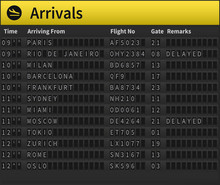 Airport Timetable Showing Arri...