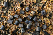 Old, Rusty Tin Cans Lying On The Ground. They Were Burned At The Stake. Around The Yellow Fallen Leaves. Autumn.