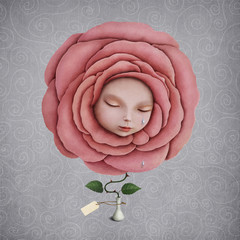Conceptual illustration of  girl with her head in the blooming rose