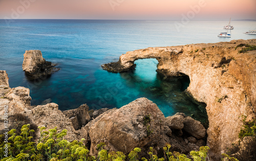 Photo Stands Cyprus Beautiful beach view. Beautiful natural rock arch in Ayia Napa on Cyprus island