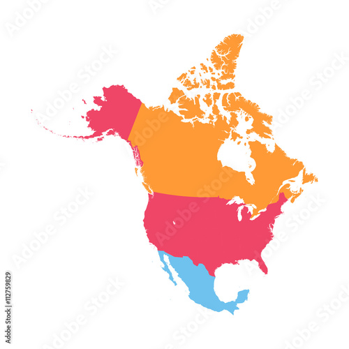 Stampa su Tela  North America vector map