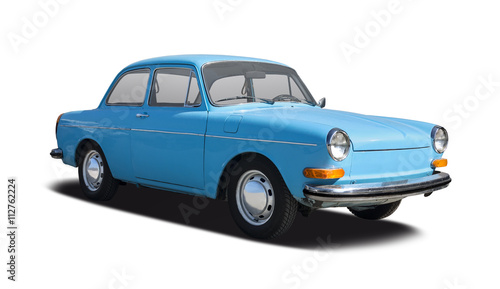 Foto op Aluminium Vintage cars Classic sedan car side view isolated on white