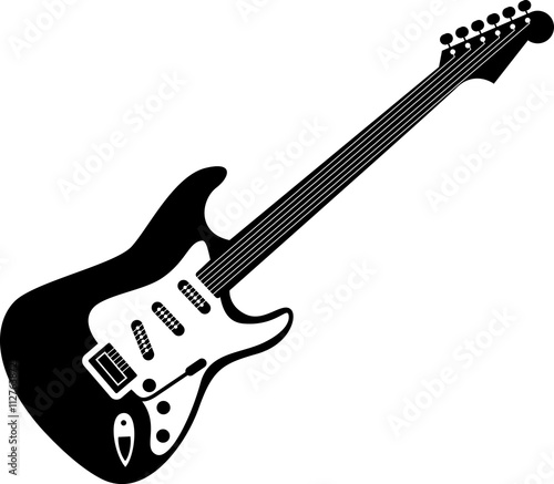 Obraz Electric guitar icon black on white. A detailed icon of electric guitar isolated on white background. Good for print and web icon of a guitar. - fototapety do salonu
