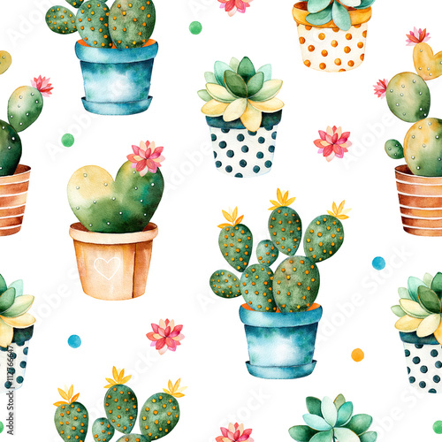 Cotton fabric Seamless watercolor texture with cactus plant and succulent plant in pot.Seamless texture with high quality hand painted watercolor elements.Perfect for your project,cover,wallpaper,pattern,gift paper