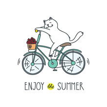Enjoy The Summer! Doodle Vector Illustration Of Funny White Cat Riding A Bike