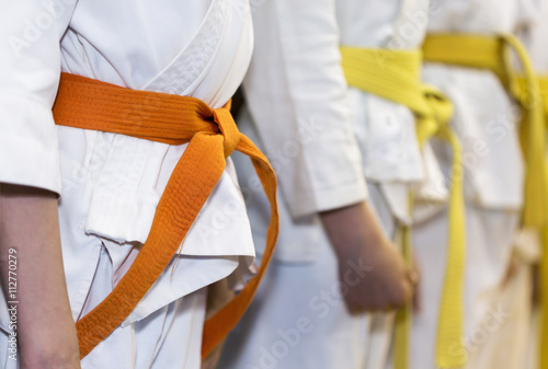 Poster de jardin Combat Children with colored belts in kimono sitanding in a line on martial arts class. Selective focus