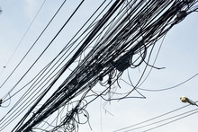 Messy Electrical Cables In Thailand - Uncovered Optical Fiber Technology Open Air Outdoors Asian Cities