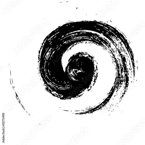grunge spiral wave logo, black brush stroke isolated on white background Canvas Print