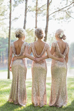 Three Bridesmaids, Arms Around Each Other, Rear View