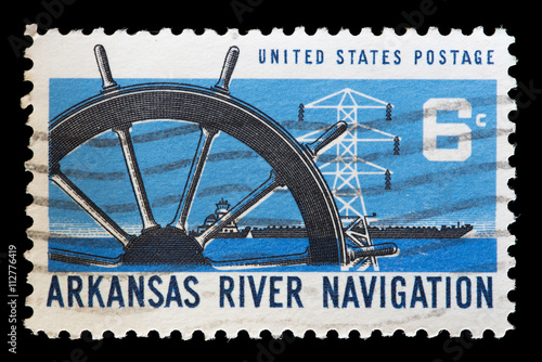 Fotografia  United States used postage stamp showing boats on the Arkansas River