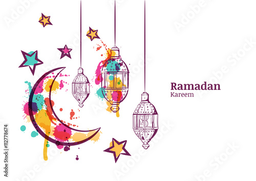 Ramadan greeting card or banner horizontal background traditional ramadan greeting card or banner horizontal background traditional watercolor lanterns moon and stars m4hsunfo