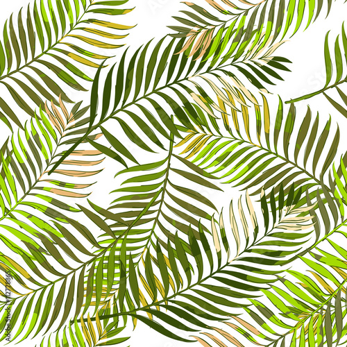 Spoed Fotobehang Tropische Bladeren Vector summer seamless pattern with palm leaves. Hand drawn tropical palm leaves background. Design for fashion textile summer print, wrapping paper, web backgrounds.